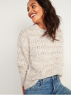 Textured Cable-Knit Pointelle Sweater for Women