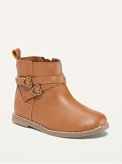 Faux-Leather Double-Strap Boots for Toddler Girls