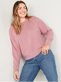 Vintage Garment-Dyed Crew-Neck Sweatshirt for Women