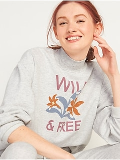 Oversized Mock-Neck French Terry Sweatshirt for Women