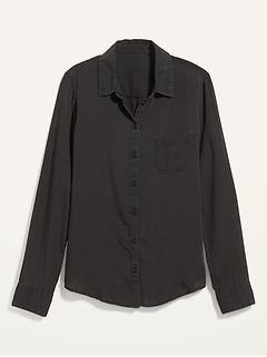 Black Chambray Classic Shirt for Women