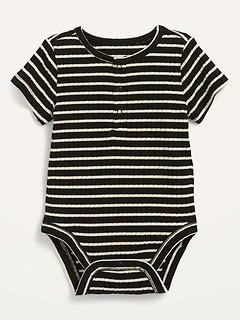 Unisex Short-Sleeve Rib-Knit Henley Bodysuit for Baby