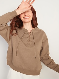 Lace-Up Crew-Neck Sweatshirt for Women