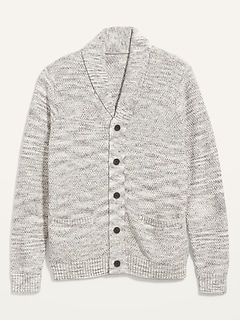 Textured Shawl-Collar Button-Front Cardigan Sweater for Men