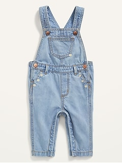 Embroidered-Daisy Light-Wash Jean Overalls for Baby