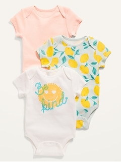 3-Pack Short-Sleeve Bodysuit for Baby