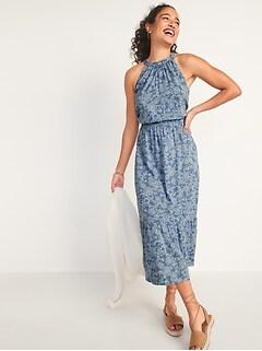 Waist-Defined Sleeveless Floral-Print Maxi Dress for Women