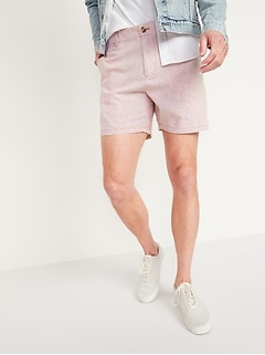 Slim Ultimate Micro-Stripe Linen-Blend Shorts for Men -- 6-inch inseam