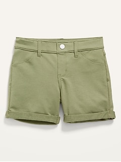 French Terry Rolled-Cuff Midi Shorts for Girls