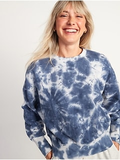 Loose Tie-Dye Cropped Crew-Neck Sweatshirt for Women