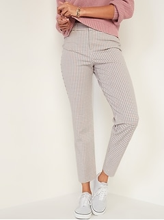 High-Waisted Pixie Checked Straight-Leg Ankle Pants for Women