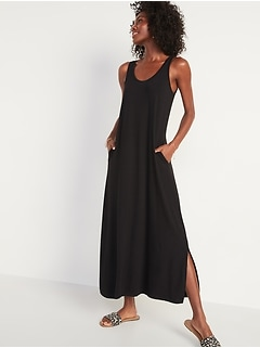 Sleeveless Jersey-Knit Maxi Shift Dress for Women