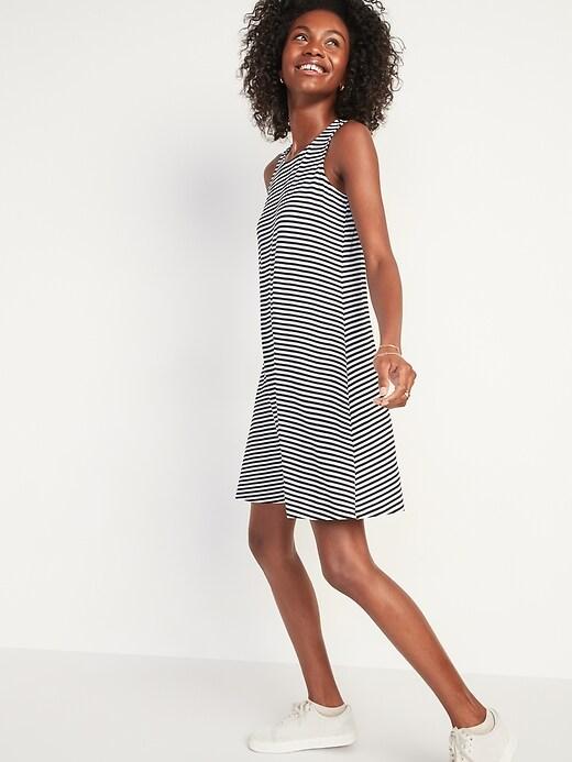 Oldnavy Striped Jersey-Knit Sleeveless Swing Dress for Women