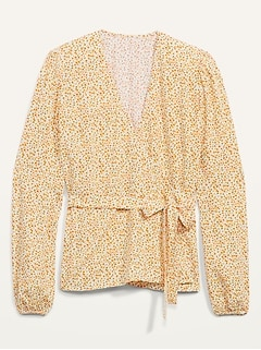 Floral-Print Tie-Belt Wrap Blouse for Women