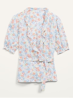 Ruffled Floral-Print Tie-Belt Wrap Blouse for Women