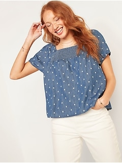 Smocked-Yoke Floral-Embroidered Chambray Top for Women