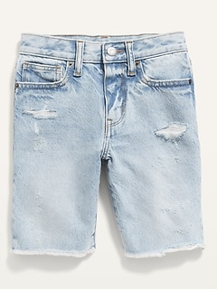 Gender-Neutral Non-Stretch Ripped Jean Shorts for Kids