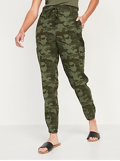 High-Waisted Linen-Blend Tapered Jogger Pants for Women