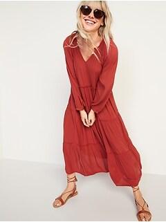 Crinkle-Crepe Ruffle-Tiered Maxi Swing Dress