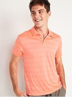Go-Dry Odor-Control Textured-Stripe Core Polo Shirt for Men