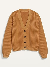 Acid-Wash Shaker-Stitch Button-Front Cardigan Sweater for Women