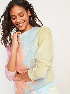 Logo-Graphic Tie-Dyed Sweatshirt for Women