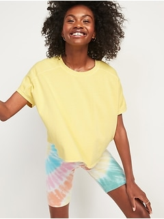 Oversized Garment-Dyed Short-Sleeve Sweatshirt for Women