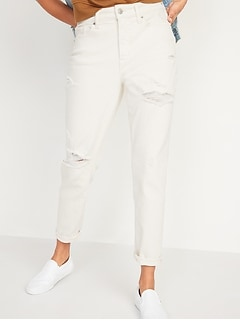 High-Waisted O.G. Straight Ripped Ecru-Wash Jeans for Women