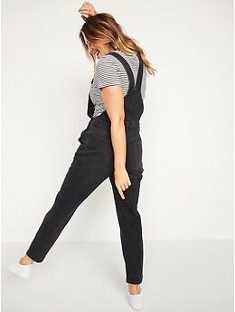 O.G. Straight Black Jean Overalls for Women