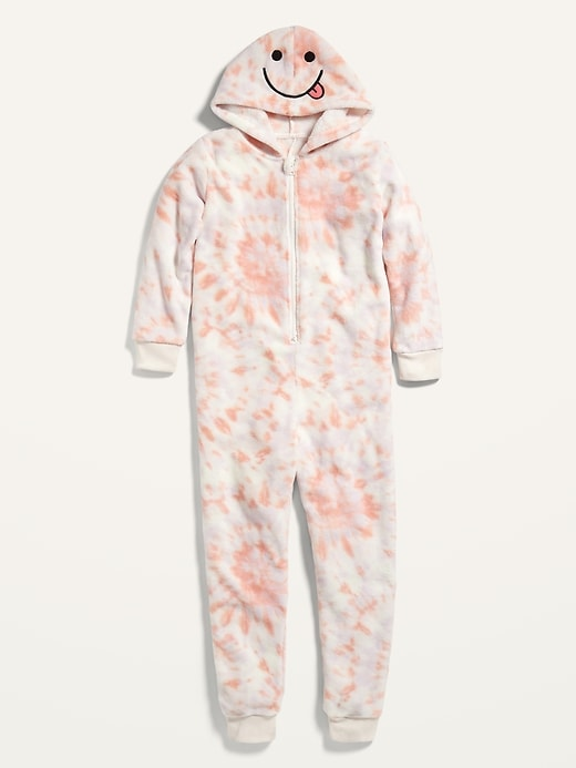 Gender-Neutral Tie-Dyed Micro Fleece Hooded One-Piece Pajamas for Kids