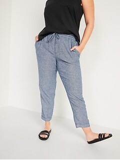 High-Waisted Linen-Blend Straight Cropped Pants for Women