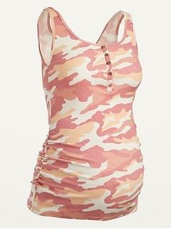 Maternity Rib-Knit Side-Shirred Henley Tank Top