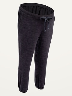 Maternity Low Panel Plush-Knit Crop Sweatpants