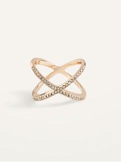Gold-Toned Crisscross Crystal-Studded Ring for Women