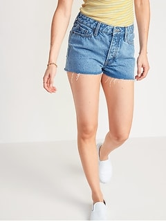 High-Waisted O.G. Straight Button-Fly Cut-Off Jean Shorts for Women -- 1.5-inch inseam