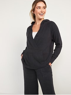 Maternity Cozy Plush-Knit Nursing Hoodie