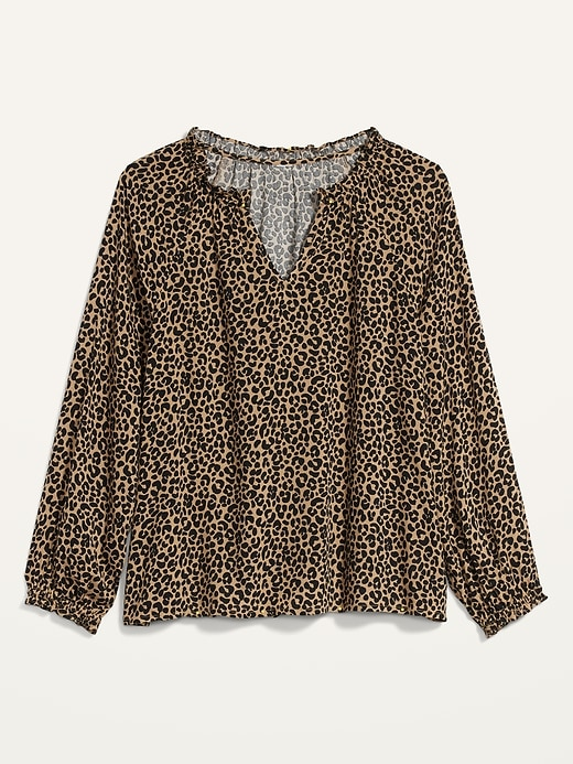 Old Navy Women's Printed Ruffle Split-Neck Blouse
