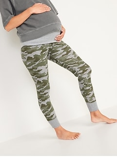 Maternity Rollover-Waist Thermal-Knit Jogger Pants