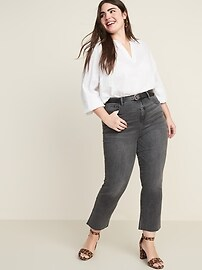 High-Waisted Raw-Edged Flare Ankle Jeans For Women