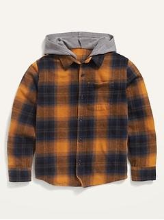 Flannel Hoodie Pocket Shirt for Boys