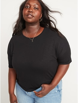 Luxe Oversized Short-Sleeve Slub-Knit T-Shirt for Women