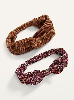 Fabric-Covered Head Wrap 2-Pack for Women