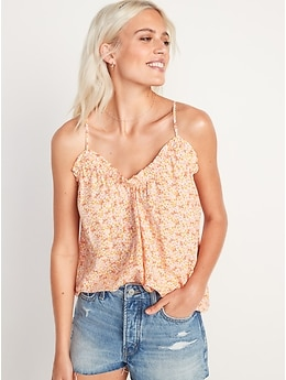 Scoop-Neck Floral Swing Cami Blouse for Women