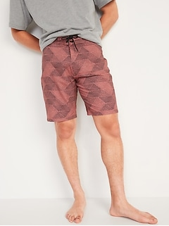 Patterned Built-In Flex Board Shorts for Men -- 10-inch inseam