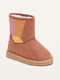 Sherpa-Lined Faux-Suede Boots for Toddler Girls