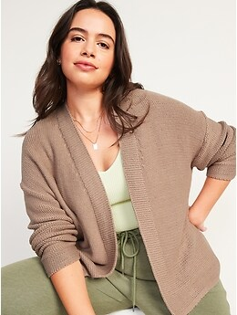 Slouchy Open-Front Cardigan Sweater for Women