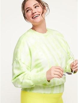 Loose Tie-Dye Cropped Crew-Neck Sweatshirt for Women