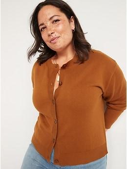 Crew-Neck Cardigan Sweater for Women