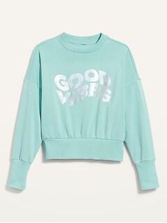 Loose Crew-Neck Cropped Sweatshirt for Women