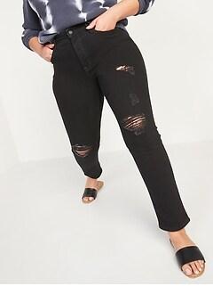 High-Waisted Power Slim Straight Black Jeans for Women